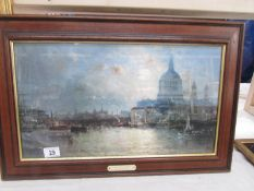 An old darkwood framed print entitled 'The Boats at Rye' by Charles Thornley, image 49 x 27.