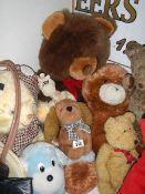 A quantity of soft toys.
