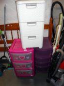 3 plastic office storage drawer units