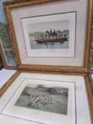 A pair of gilt framed Thomas Binks prints entitles 'A Day's Hunting', image 25 x 16 cm,