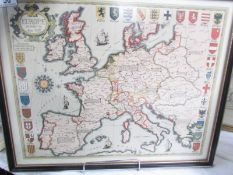 A framed and glazed map of Europe based on the original of 1590.