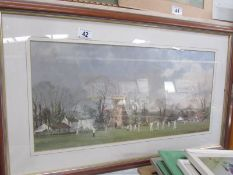 A framed and glazed print entitled 'The Opening Match' from a painting by Roy Perry R I. Image 56.