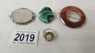 Two 19th century brooches, one set with agate, the other hardstone set,