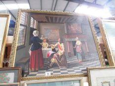 A large framed bar room print.