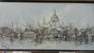 A framed and glazed cityscape signed Ben Maile, 106 x 54 cm.