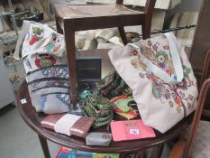 2 new owl shopping bags, new make up bags, costume jewellery,