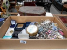 A large box of costume jewellery including vintage travel case a/f