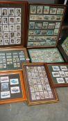 A good lot of framed sets of tea and cigarette cards.