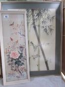 2 framed and glazed Japanese bird pictures.