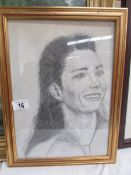 A framed and glazed charcoal portrait of a lady by Joyce Snowden (Lincolnshire Artist's Society