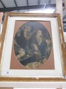 An oval maple framed print of 2 boys (missing glass).