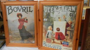 Two pine framed advertisements for Bisto and Peak Freans, 53 x 71 cm.