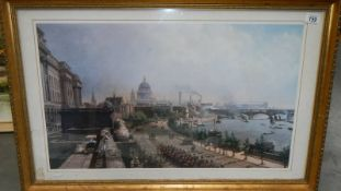 A gilt framed and glazed of The London Embankment featuring St. Paul's Cathedral, 91 x 59 cm.
