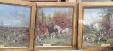 3 framed and glazed hunting prints by Heywood Hardy being 'The Meet',
