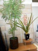 2 large artificial plants