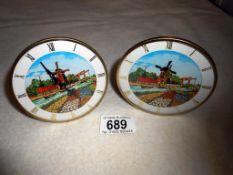2 Dutch scene clocks with moving windmill sails