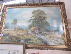 A large gilt framed hay making print signed Don Vaughan.