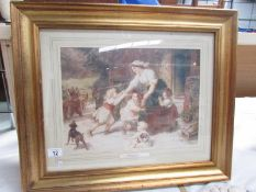 A gilt framed and glazed print entitled 'The Dancing Bear' by Frederick Morgan, 1856 - 1927.