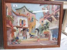 A framed and glazed continental street scene painting signed Toyly John, image 53 x 43 cm,