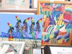 One framed and One unframed African scenes on canvas.