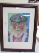 A framed and glazed pastel entitled 'Old George' by Joyce Snowden,