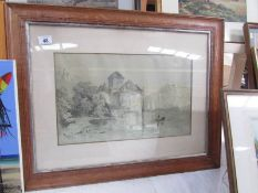 A framed and glazed pencil drawing by E Robinson after V E Green, image 46 x 38, frame 71 x 56 cm.