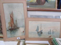 2 unframed nautical watercolours signed M E Wedlock, image 45 x 25 cm.