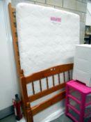 "A sleep to dream memory foam 4'6"" mattress and pine bed frame"