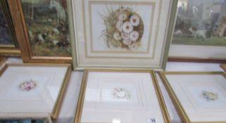 4 framed and glazed floral prints.