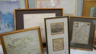 Five good old framed and glazed maps.
