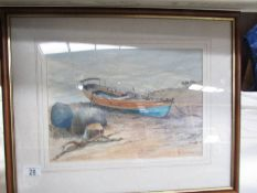 A framed and glazed watercolour beach scene signed J R Cornforth, image 35 x 25 cm,