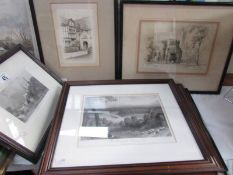 7 framed and glazed engraving including 'Dark Entry, Canterbury', 'The Thames From Richmond Hill',
