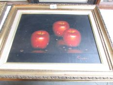 A still life oil on canvas 'Red Apples' signed K Mason. Image 38.5 x 29 cm, framed 52 x 43 cm.