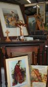A mixed lot of religious items including pictures, crucifix, bibles etc.
