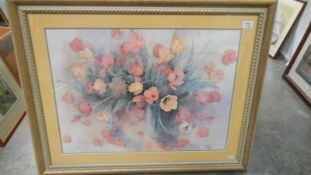 A large good floral print by Sletts, 93 x 75 cm.