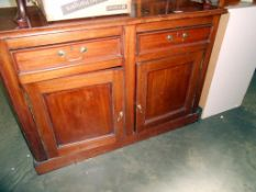 A Victorian mahogany 2 drawer, 2 door sideboard (holes drilled in top) 117cm,