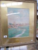 A framed and glazed watercolour of Catterick Village Yorkshire singed Barhgwanath King, 1907,