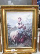 A gilt framed hand varnished print entitled 'The Shepherdess' by J B Hofnor, image 38 x 26,