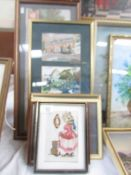 A set if 3 watercolours in one frame by John V Emms,