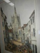 A framed and glazed limited edition engraving of Ormskirk Church, signed, 318/360.