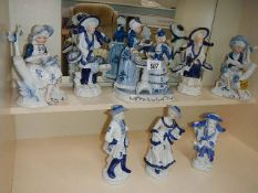 A collection of blue and white Chinese style figures.