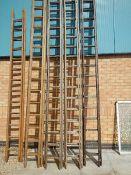 Ten wooden ladders.