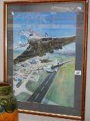 A framed and glazed aeronautical scene.