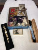 A mixed lot of costume jewellery & watches etc.