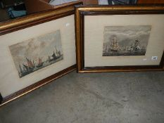 A pair of early 20th century framed and glazed picture depicting Dutch and English fishing fleets.