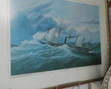 A Framed and glazed print of SS Great Britain.