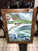 Irish school acrylic on board 'An Irish cottage by the sea in Donegal landscape' framed 48cm x 37.
