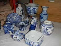 Approximately 12 pieces of blue and white china.