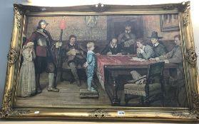 A large gilt framed lithograph print 115cm x 74cm