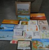 Approximately 20 unframed oils, watercolours and pencil drawings by A E Harper.